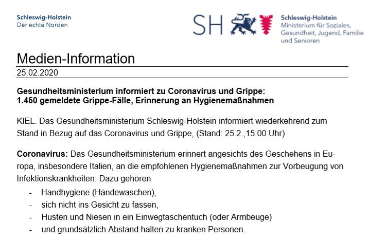Wichtige Informationen zu Coronavirus und Grippe (25.02.2020)